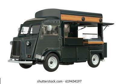 Food truck eatery cafe on wheels, dark green color. 3D rendering