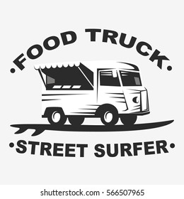 Food truck emblems and logo with surf board on white background. Street surfer food truck.  illustration