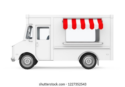 Food Truck Isolated (side view). 3D rendering