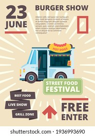 Food truck poster. Delivering products festival invite cars with cousine burgher party banner placard template