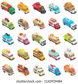 Food truck street transport icons set. Isometric illustration of 25 food truck street transport icons for web
