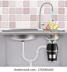 Food waste disposer fitted under kitchen sink with slices of fruits, vegetables and other food waste falling into it with water, realistic illustration. Garbage disposal.