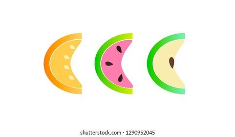 Food.Risunok.isobenie three slices of melon, watermelon, apple