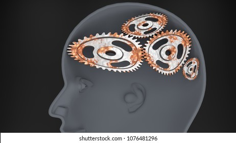 A fool - human head with twisted and misaligned wooden cogwheels inside, symbolizes stupidity, idiocy, being a dumb person, 3d illustration
