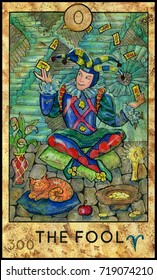 Fool. Joker. Fantasy Creatures Tarot full deck. Major arcana. Hand drawn graphic illustration, engraved colorful painting with occult symbols
