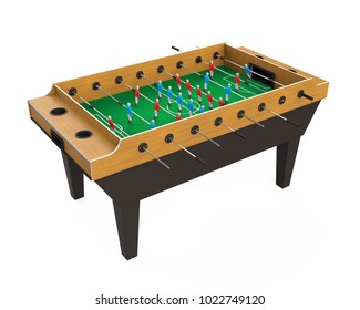 Foosball Soccer Table Game Isolated. 3D rendering