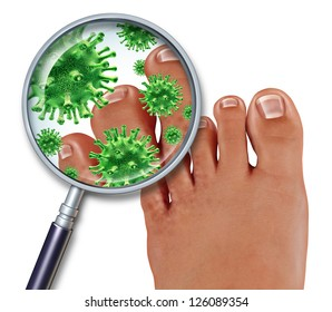 Foot Fungus disease with a close up of the human body showing toes with green bacteria or virus under a magnifying glass with illness of the skin as a podiatry or podiatric medicine concept.