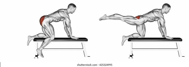 Foot moves back to the bench. 3D illustration