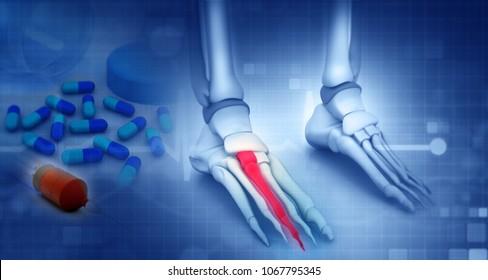 Foot skeleton with medicine on blue background. 3d illustration