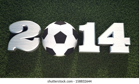 Football 2014 on grass. Happy new sport and soccer year design.