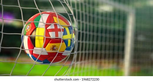 Football avec drapeaux de pays européens dans le filet de l'objectif du stade de football. Championnat d'Euro 2021. Illustration 3d