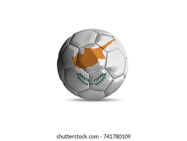 football ball with the national flag of Cyprus white background