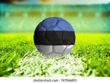 football ball with the national flag of Estonia ball with Green grass background