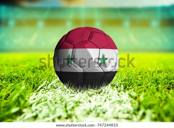 football ball with the national flag of  ball with Green grass background