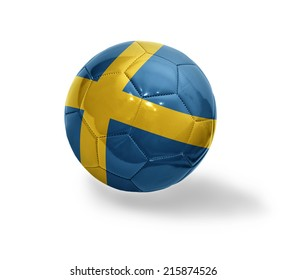 Football ball with the national flag of Sweden on a white background