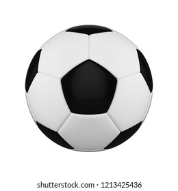 Football ball realistic 3d raster illustration. Black and white soccer ball clipart. Sports competition logo, poster, banner. International championship, tournament. Isolated rendering design element