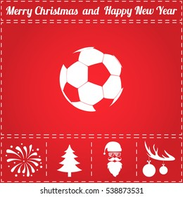 Football ball - soccer. Flat symbol and bonus icons for New Year - Santa Claus, Christmas Tree, Firework, Balls on deer antlers
