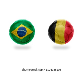 football balls with national flags of belgium and brazil.isolated on the white background. 3D illustration