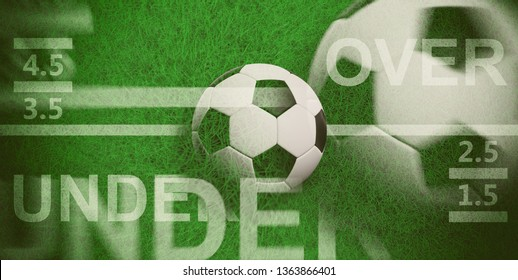 Football betting concept. Blur soccer ball, over and under text on green grass, 3d illustration