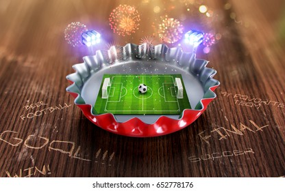 Football championship in the red Beer cap. 3d render