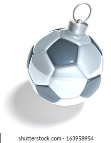 Football, christmas tree ball, xmas tree ball in shape of a soccer ball, 3d rendering isolated on white background
