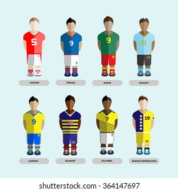 Football club Soccer Players silhouettes. Computer game Soccer team players set. Sports infographic. Digital background raster illustration.