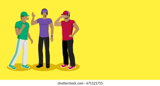 Football coaches web banner. Cartoon soccer referees in uniform and hat speaking into lip-ribbon microphone. Main referee. Judging competition. Football match. Flat referee icon