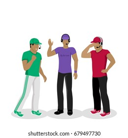 Football coaches web banner. Cartoon soccer referees in uniform and hat speaking into lip-ribbon microphone. Main referee. Judging competition. Football match. Flat referee icon. Football logo