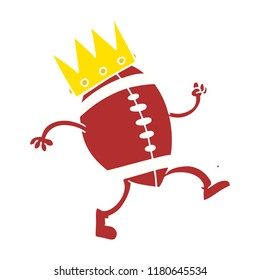 football with crown flat color style cartoon