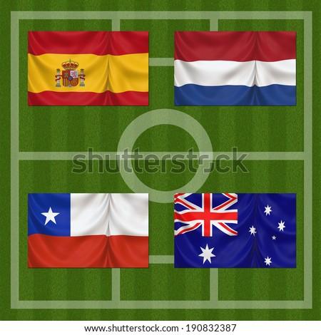 Football Field Flags Group B Brazil Stock Illustration