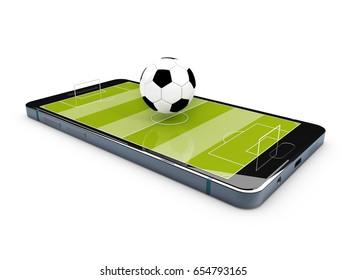 Football field on the smartphone screen. 3d illustration.