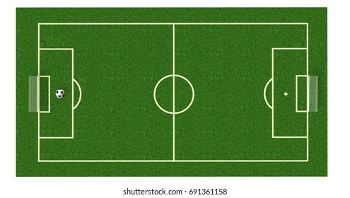 Football field / soccer field  on realistic green grass. top view. background - 3d render