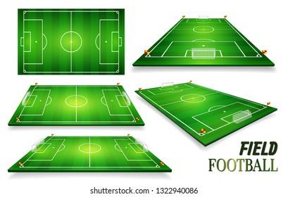 Football field, soccer field set. Perspective vector illustration. Room for copy.