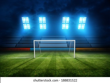 Football Field & Stadium Lights. Background illustration.