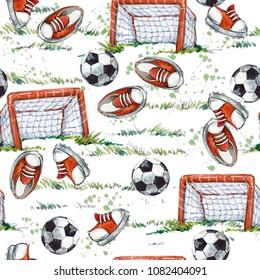 football field watercolor seamless pattern
