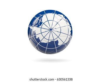 Football with flag of antarctica isolated on white. 3D illustration