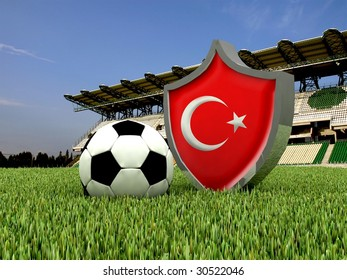 football with flag of Turkey
