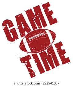 Football Game Time is an illustration of a football game time design in a vintage or distressed style which includes a football.