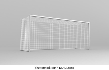 Football goal isolated on a gray background. Realistic football soccer goal. Sports equipment 3d rendering