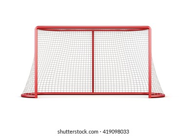 Football goal with net isolated on white background. Front view.3d rendering.