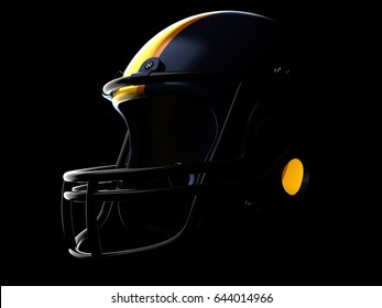 Football helmet on black background. 3d illustration