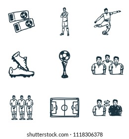 Football icons set. Player icon, cup icon, boots icon and more. Premium quality symbol collection. Succer icon set simple elements.