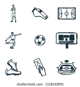Football icons set. Succer ball icon, whistle icon, Football Red card icon and more. Premium quality symbol collection. Succer icon set simple elements.