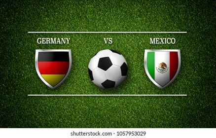 Football Match schedule, Germany vs Mexico, flags of countries and soccer ball - 3D rendering
