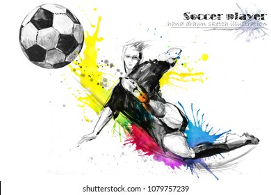 football player. Soccer silhouette hand drawn illustration