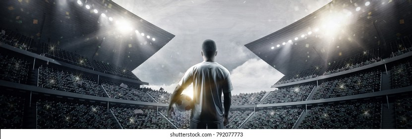 The football player at the stadium, 3d rendering