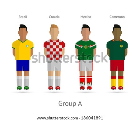 8ffdf546247 Royalty-free stock illustration ID  186041891. Football players. Group A -  Brazil