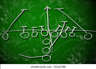 Football running play strategy on green chalkboard. Playbook diagram concept.