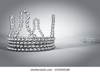 Football in a shape of crown on white-grey background with a football goal beside. Business or Leadership or motivation or teamwork partnership in company concept. 3d Render