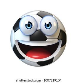 Football, soccer ball with cartoon face, sport emoji, football mascot 3d rendering